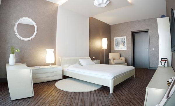 غرف نوم مودرن كاملة بيضاء