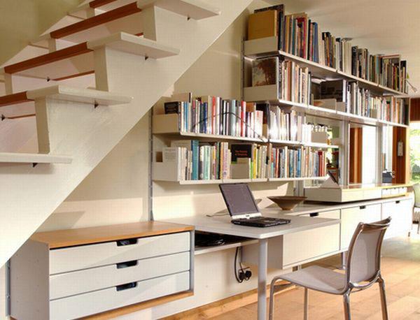 افكار لاستغلال المساحات تحت الدرج