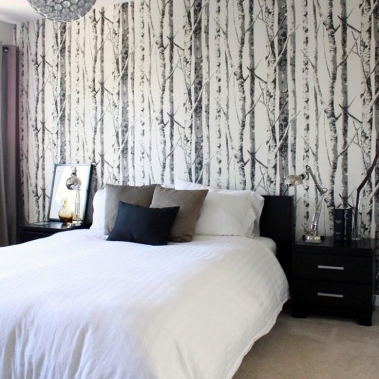 ورق جدران غرفة نوم بسيطة بجدارية أحادية اللون