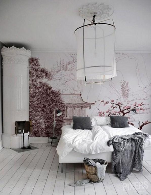 ورق جدران غرفة نوم بنمط اسكندنافي و جدارية ساحرة