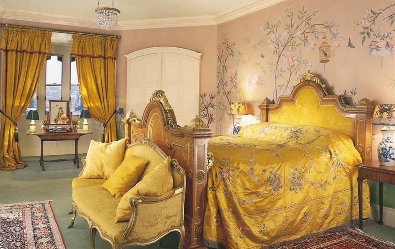 ورق جدران غرفة نوم تقليدية بجدارية نقوش نباتية