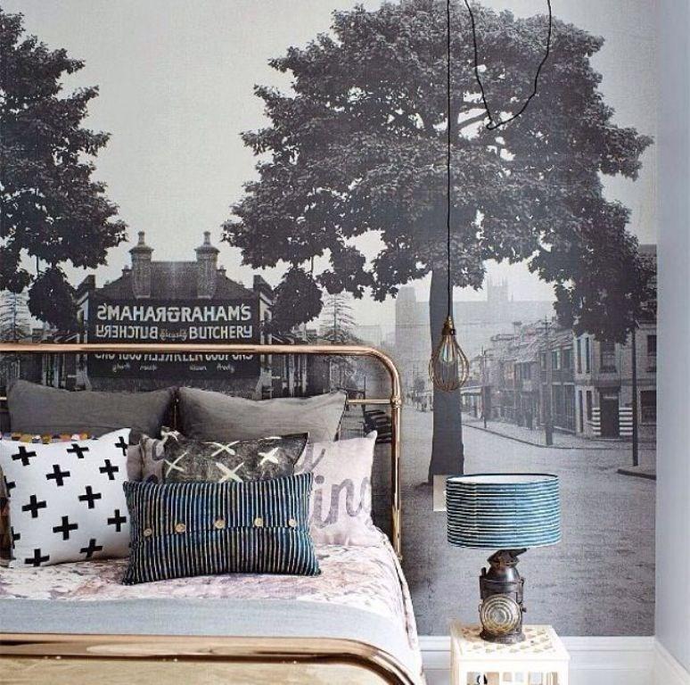 ورق جدران غرفة نوم بجدارية كلاسيكية الطراز