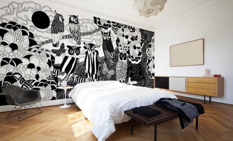 ورق جدران جدارية أحادية اللون بطابع تجريدي