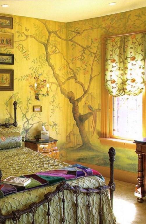 ورق جدران جدارية طبيعة أخاذة في غرفة نوم تقليدية