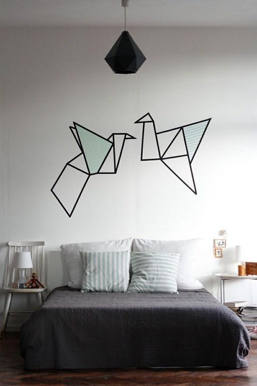 ورق جدران جدارية غرفة نوم برسم أوريغامي