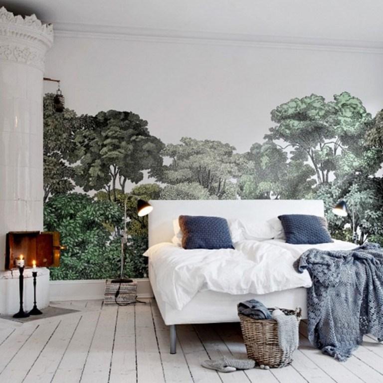 ورق جدران غرفة نوم ذات نمط اسكندنافي بجدارية خلابة