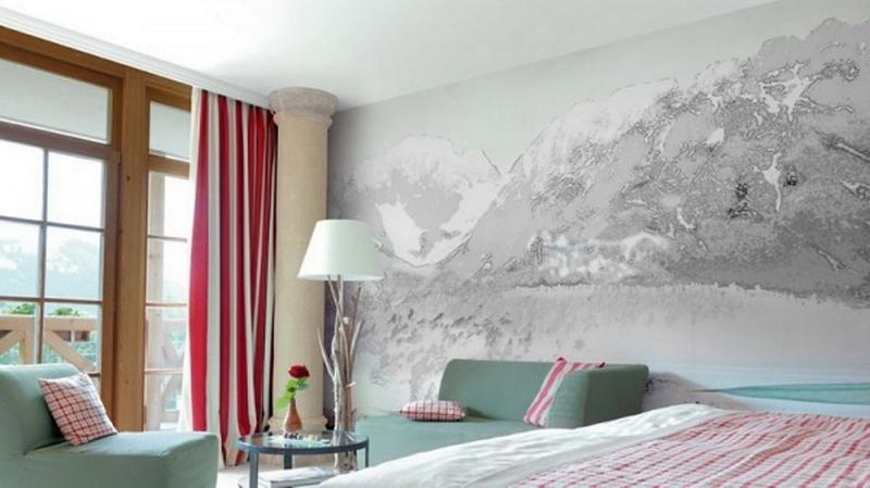 ورق جدران غرف نوم رئيسية بجدارية أحادية اللون