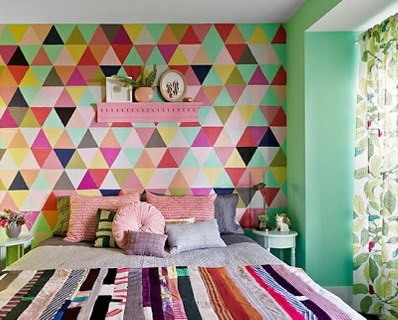 ورق جدران غرف نوم عصرية بجدارية رسوم هندسية