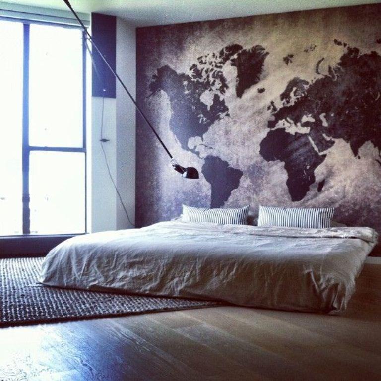 ورق جدران جدارية خارطة في غرفة النوم