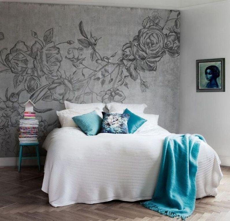 ورق جدران غرفة نوم مميزة بجدارية أحادية اللون