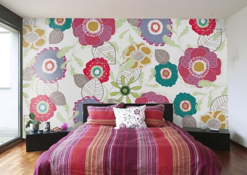 ورق جدران غرف نوم أنثوية المظهر بجدارية أزهار