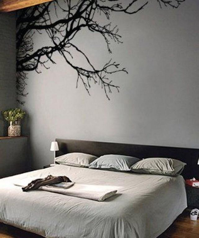 ورق جدران غرفة نوم رمادية بجدارية شجرة