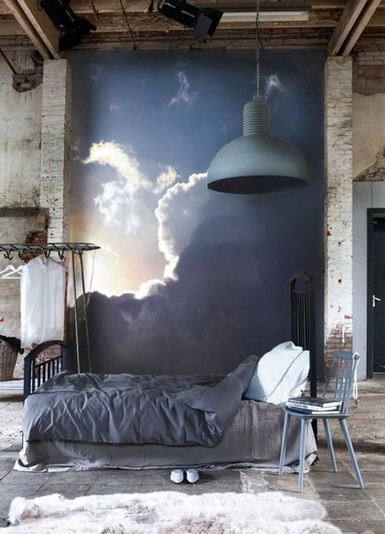 ورق جدران غرفة نوم ذات طابع صناعي بجدارية جميلة