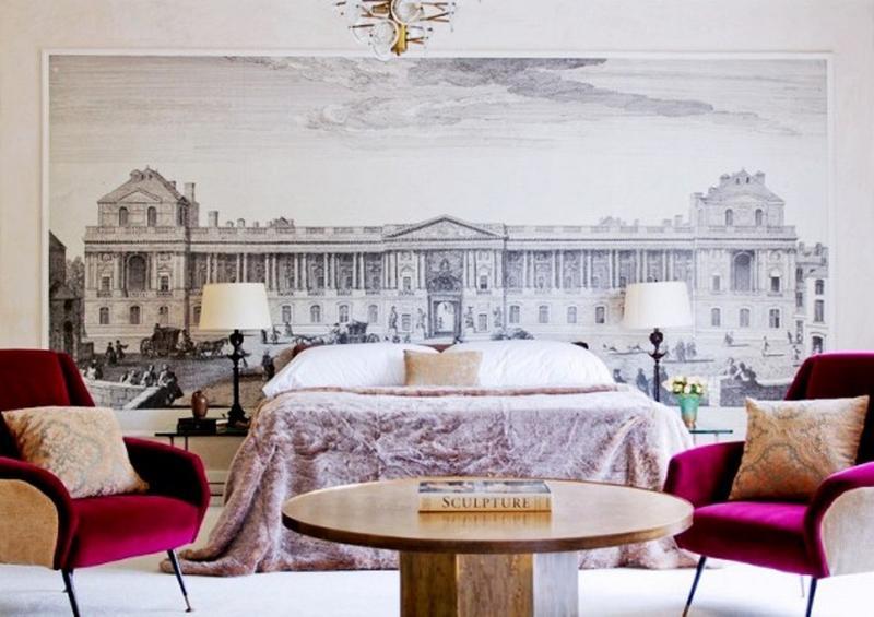 ورق جدران غرفة نوم فخمة بجدارية بانوراما