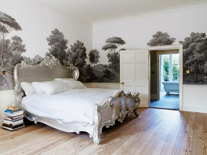 ورق جدران غرفة نوم أنيقة بجدارية طبيعة