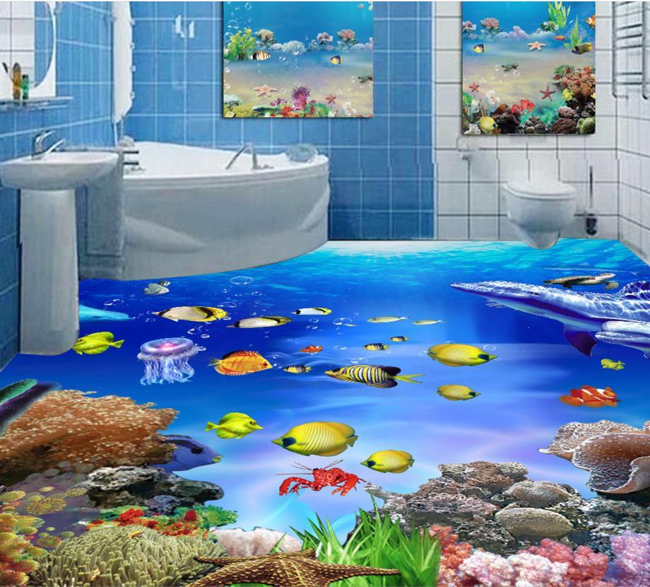 أفكار ارضيات 3D للحمامات