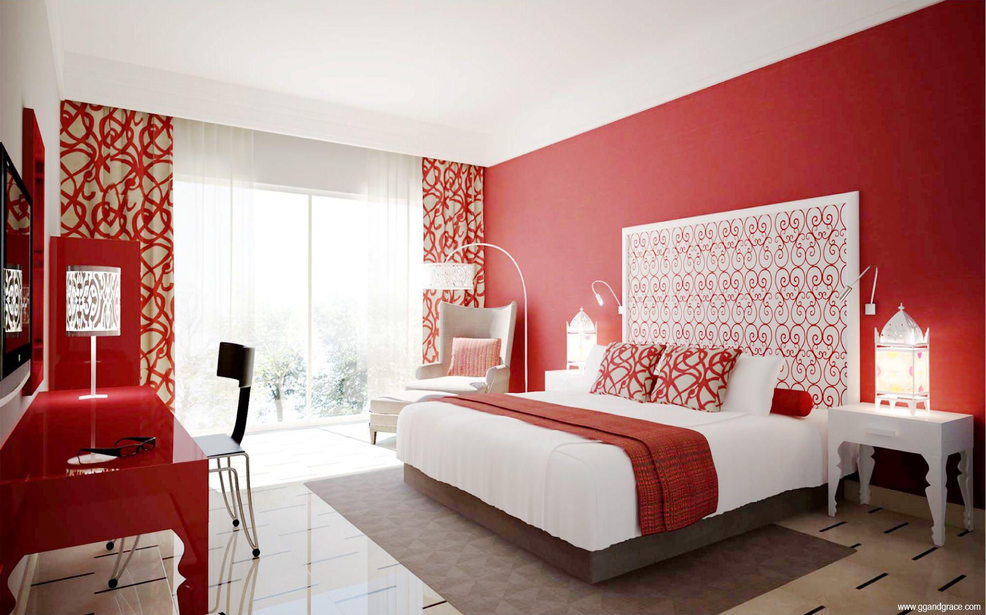 الوان مودرن دهانات غرف النوم للعرائس باللون الأحمر