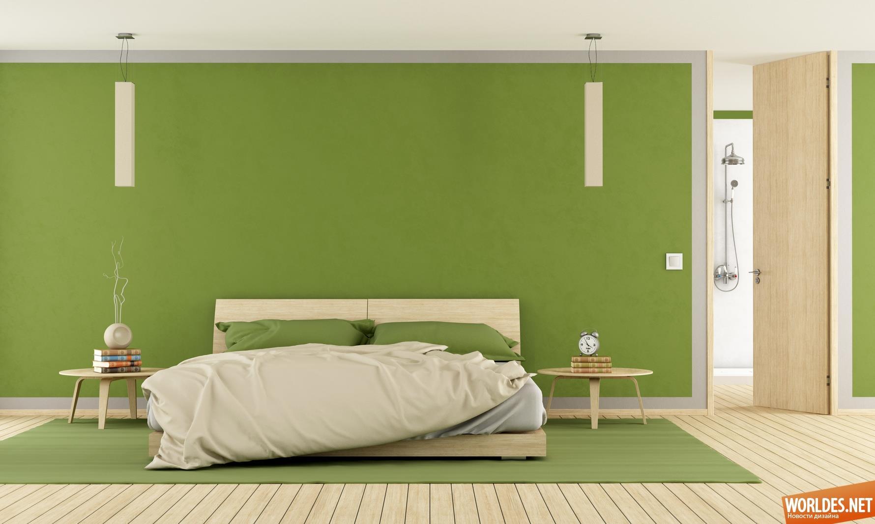 الوان دهانات غرف النوم للعرائس باللون الأخضر