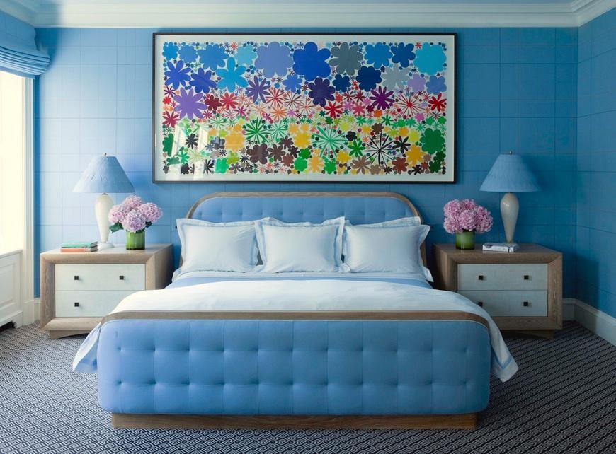 الوان دهانات لغرف النوم العرائس باللون الأزرق