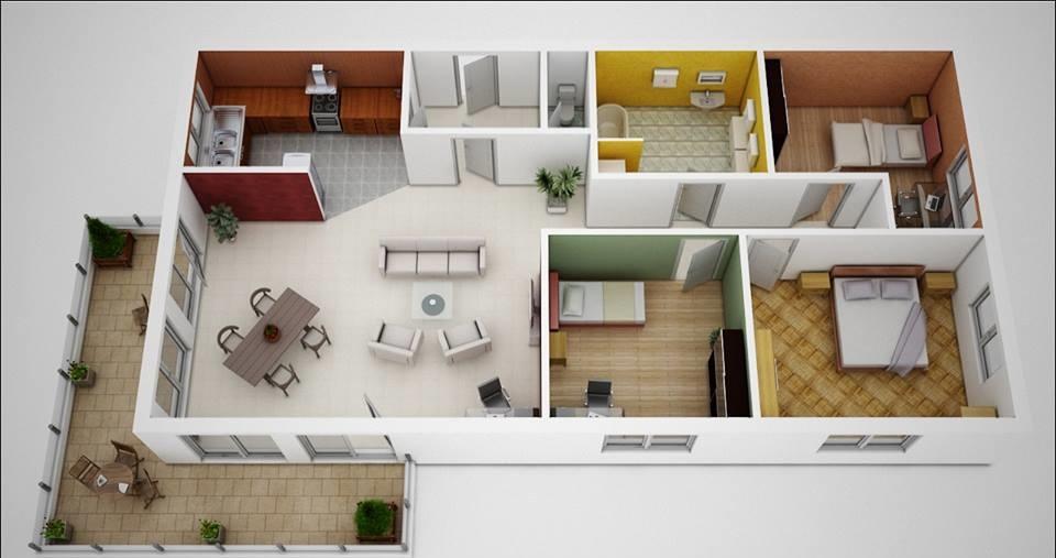 مخططات بيوت وخرائط منازل 150 متر و 120 متر طابق واحد عرب ديكور