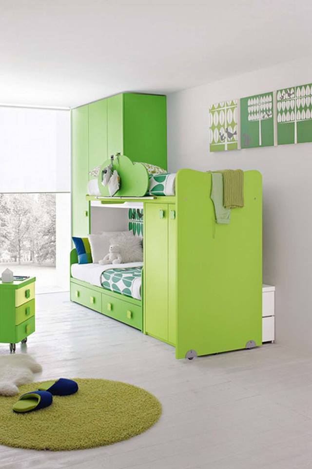تصاميم غرف نوم اطفال بسريرين ودولاب