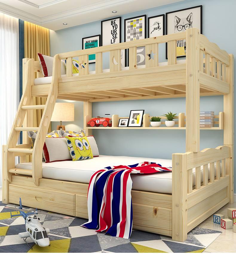 غرف نوم اطفال خشب بسريرين فوق بعض